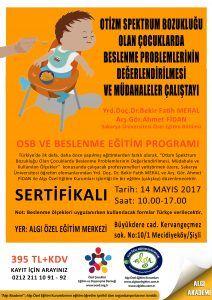 """Türkiye'de ilk defa, daha önce yapılmış eğitimlerden farklı olarak, """"Otizm Spektrum Bozukluğu Olan Çocuklarda Beslenme Problemlerinin Değerlendirilmesi, Müdahaleler ve Kullanılan Ölçekler"""" konusunda çalışacak profesyonelleri yetiştirmek üzere, Sakarya Üniversitesi öğretim elemanlarından Yrd. Doç. Dr. Bekir Fatih MERAL ve Arş. Gör. Ahmet FİDAN ile Algı Özel Eğitim Kurumları işbirliği ile bir eğitim (çalıştay) düzenlenecektir."""