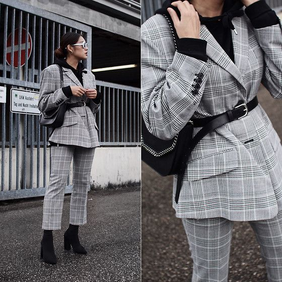 Get this look: http://lb.nu/look/8695975  More looks by Thao Nhi Le: http://lb.nu/thaonhile  Items in this look:  Zara  Checked Suite, H&M Leather Belt, Public Desire Sock Heels, Stella Mc Cartney Chain Bag   #classic #minimal #street #masculinesuite #feminine #highfashion