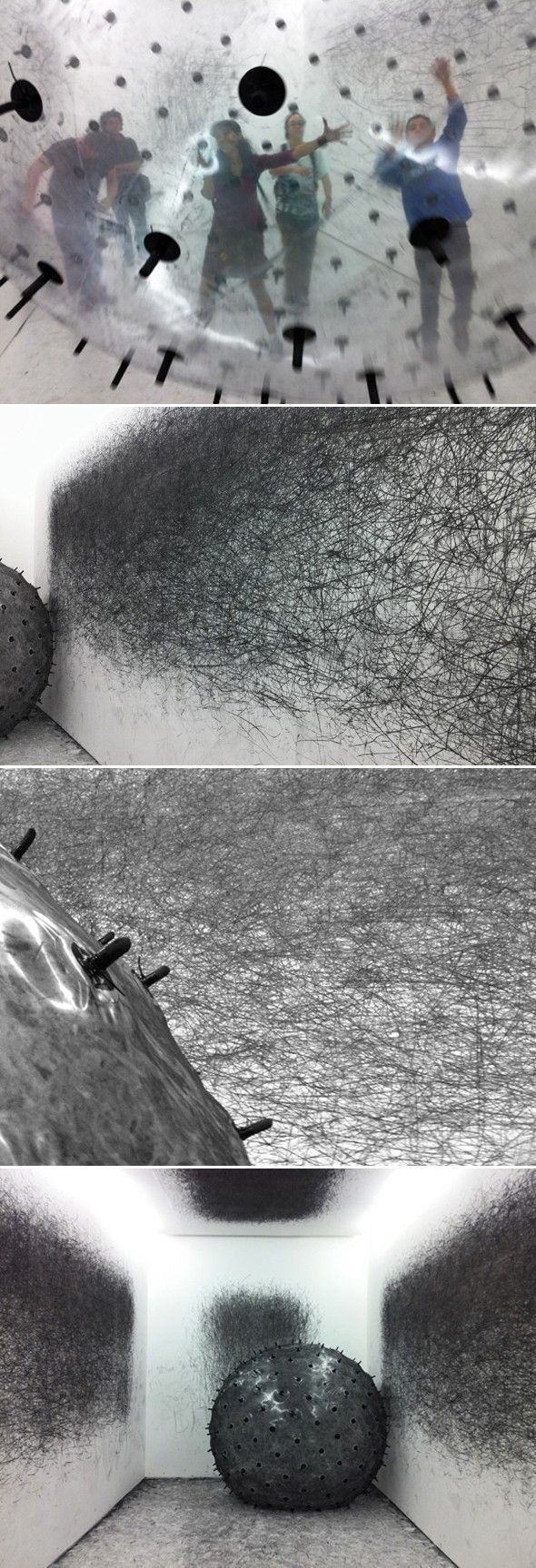 nstallation baptisée « ADA » de l'artiste Karina Smigla-Bobinski  Voici une très belle installation interactive imaginée et réalisée par l'artiste contemporain Karina Smigla-Bobinski. L'installation est composée d'une boule géante gonflée à l'hélium, couverte de pointes en fusain qui inscrivent sur les murs les passages de la boule. Dans cette installation les visiteurs peuvent faire bouger la boule pour participer à l'oeuvre.