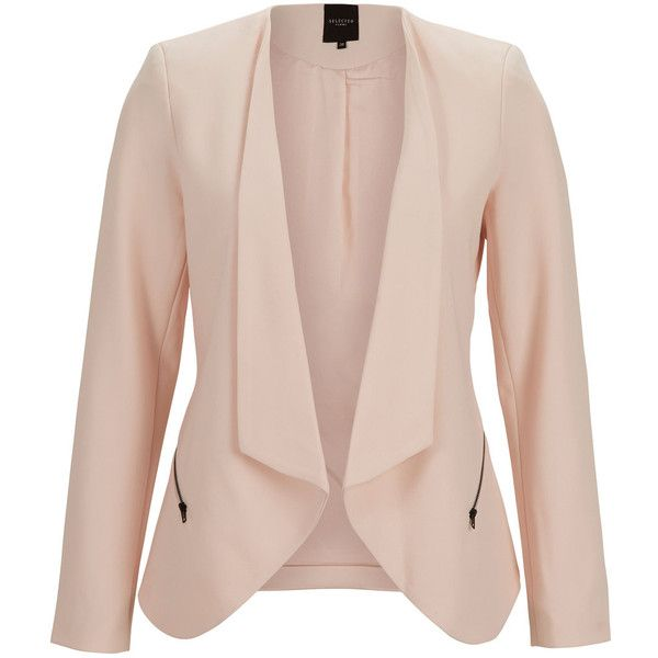 Selected Feminine - Blazer ($140) ❤ liked on Polyvore featuring outerwear, jackets, blazers, casacos, tops, black, open front blazer, zip jacket, short black jacket and short blazer