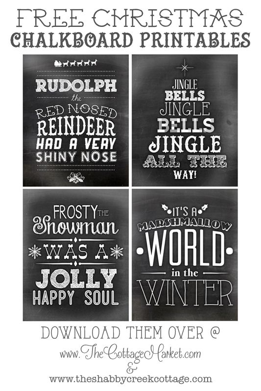 A beautiful collection of FREE printable Christmas Chalkboard Art, including some favorite & familiar holiday songs, full of Christmas cheer!