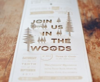 Wedding Invitation Ideas: DIY Lasercut Woodland Wedding Invitations With  Pop Up Details Via Oh So Beautiful Paper