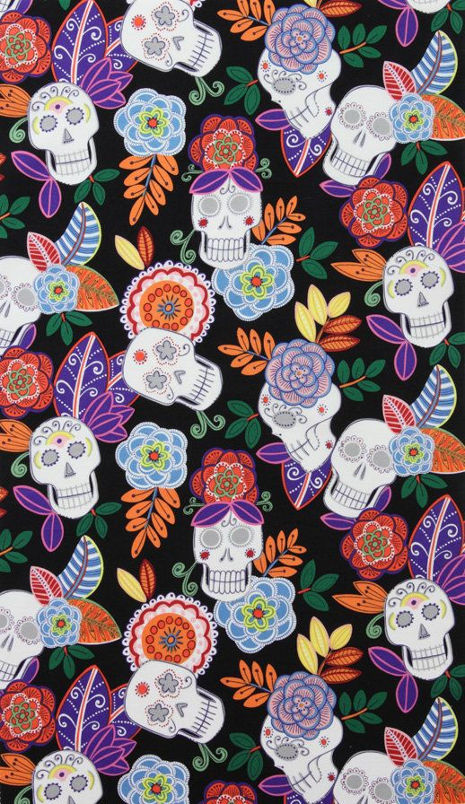 Jardin de los Muertos from Alexander Henry Day of the Dead Dia de los Muertos fabric. $9.50, via Etsy.