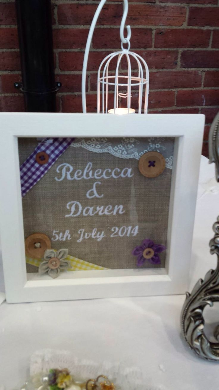 Beautiful gift to remember our day using some of the materials used for the favours and table decorations By Eleanor Jayne