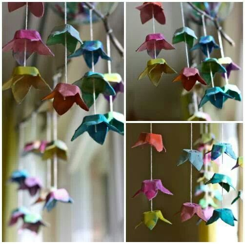 Egg carton flower mobiles!