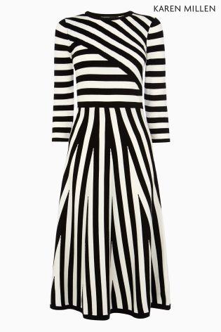 Buy Black & White Karen Millen Mixed Stripe Compact Stretch Knit Dress from the Next UK online shop