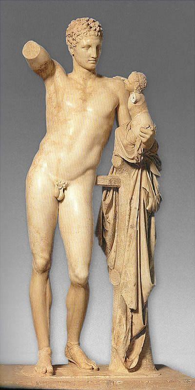Hermes z małym Dionizosem, 340 pne