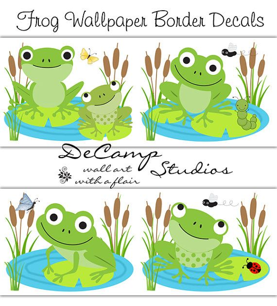 Frog wallpaper border wall art decals for baby girl or boy nursery or children's room decor #decampstudios