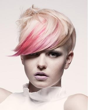 Platinum blond short hair with pink fringe... POST YOUR FREE LISTING TODAY! Hair News Network. All Hair. All The Time. http://www.HairNewsNetwork.com