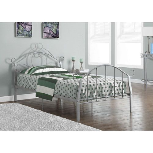 Silver Metal Twin Bed Frame