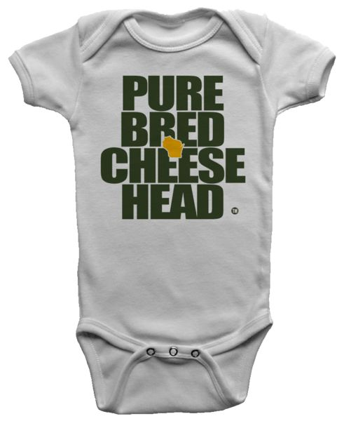 Windchill White onesie for the little Purebred Cheesehead™. Available exclusively at pbcheesehead.com