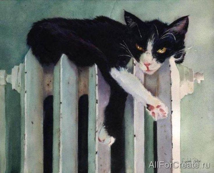 кошка лежит на батарее акварель