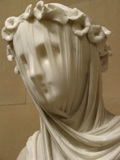 Veiled Vestal by Raffaele Monti (1818-1881), marble, in Chatsworth House collection (England) -- it was seen in the 2005 version of Pride & Prejudice by Elizabeth Bennet (aka Keira Knightly).