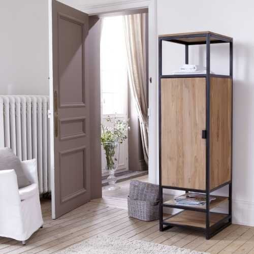 Solid Teak and Metal Wardrobe Unit 3 Shelf 1 Cupboard Industrial Style Bedroom: Amazon.co.uk: Kitchen & Home