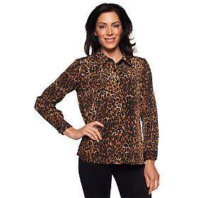 Susan Graver Animal Print Peachskin Big Shirt.  Will belt it, or wear as jacket.