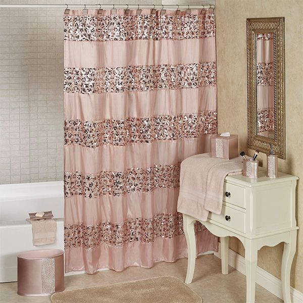 Sinatra Pale Blush Sequined Shower Curtain With Images Small