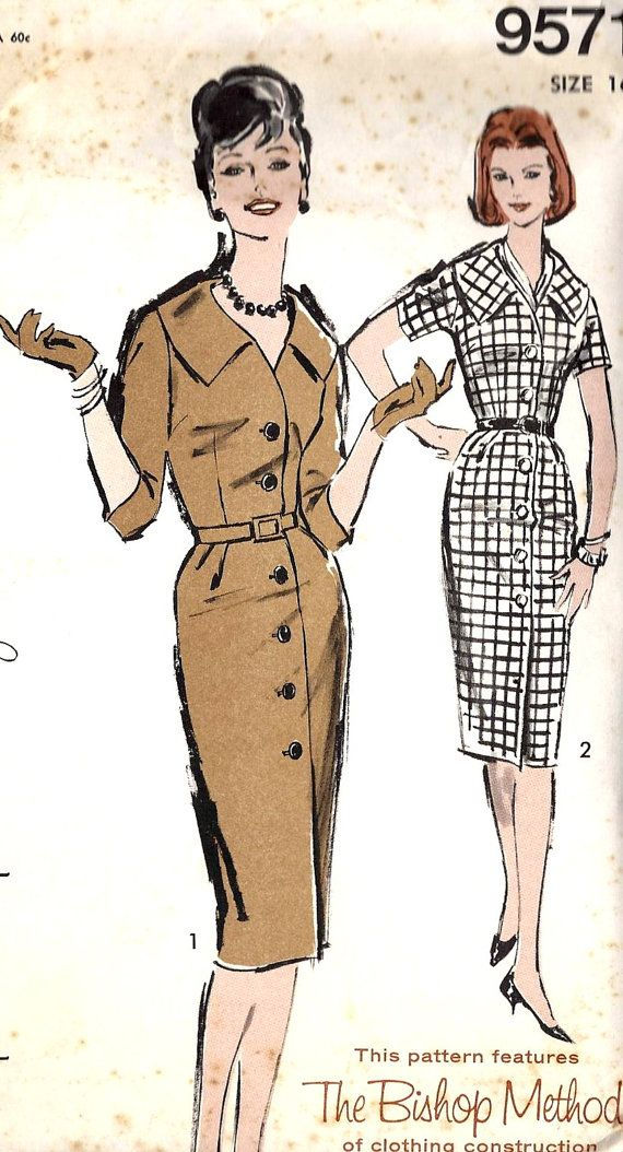 "1960s Wiggle Dress Vintage Sewing Pattern, Advance 9571 bust 36"" uncut $12"