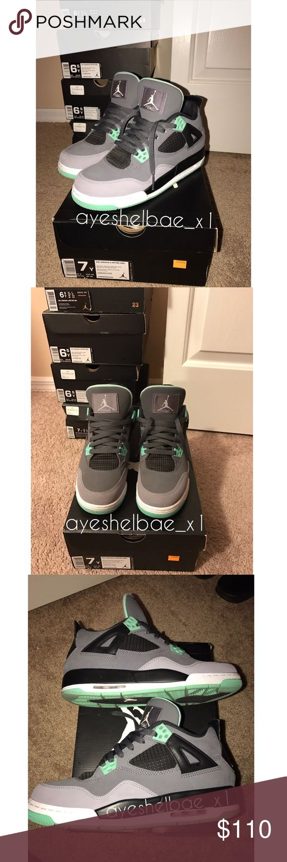 Nike Air Retro Jordan 4 Green Glows GOOD Condition 9/10 Slight Creasing && Soles Are Missing . Accepting Trades ! Nike Shoes Sneakers