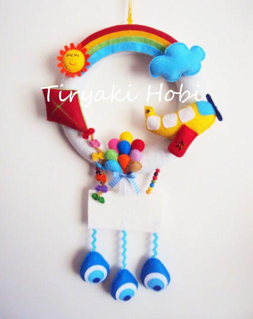 ! ✿ Tiryaki Hobi ✿ !: Keçe kapı süsü - Gökyüzü  --  Felt wreath ,sky