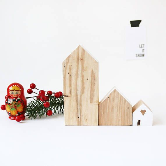 FIVEOEIGHT CO Set of 3 Wooden Houses, White and Natural home decor, Scandi Christmas decor, modern, handmade, eco, wood blocks