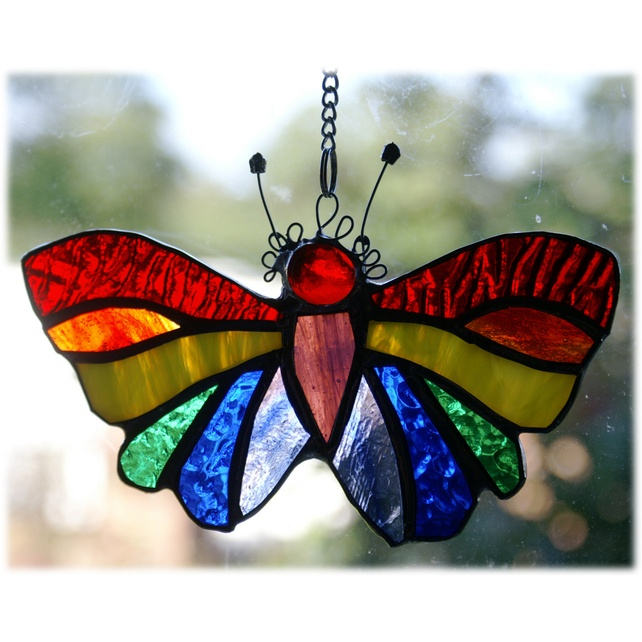 119 best painted stained glass images on pinterest for Butterfly stained glass craft