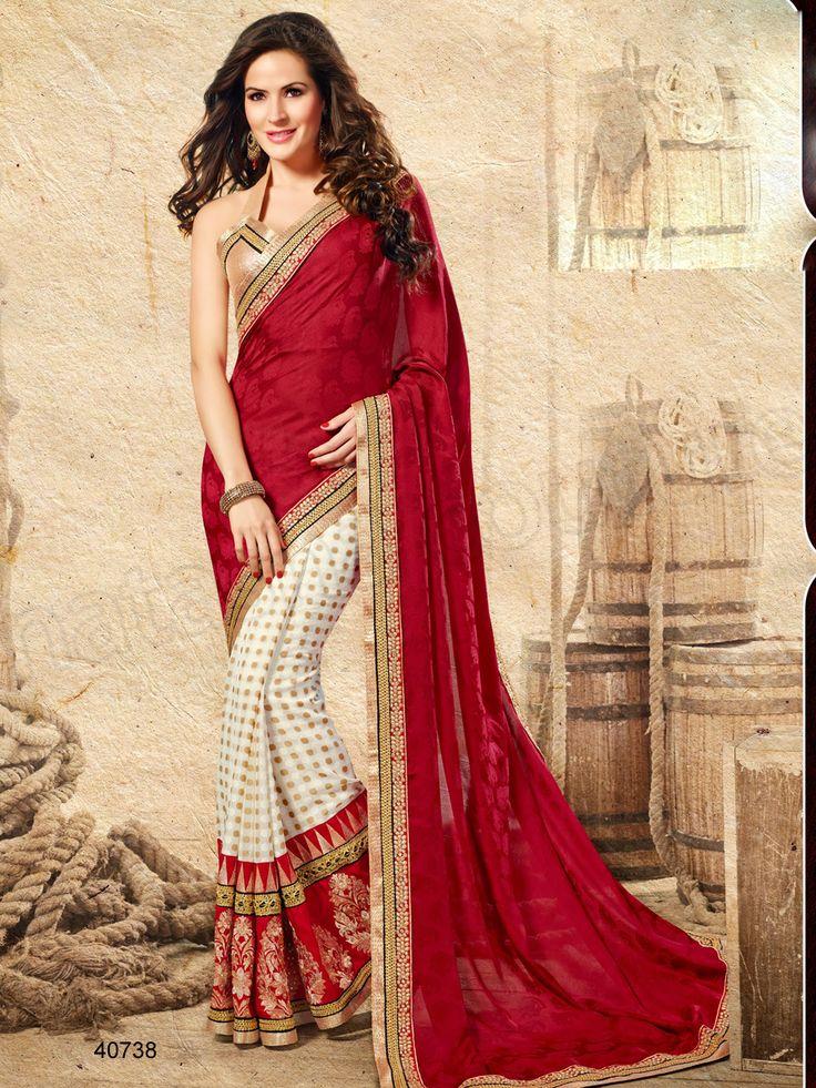 #Designer Sarees# Red & Off White #Indian Wear #Desi Fashion#Natasha Couture#Indian Ethnic Wear