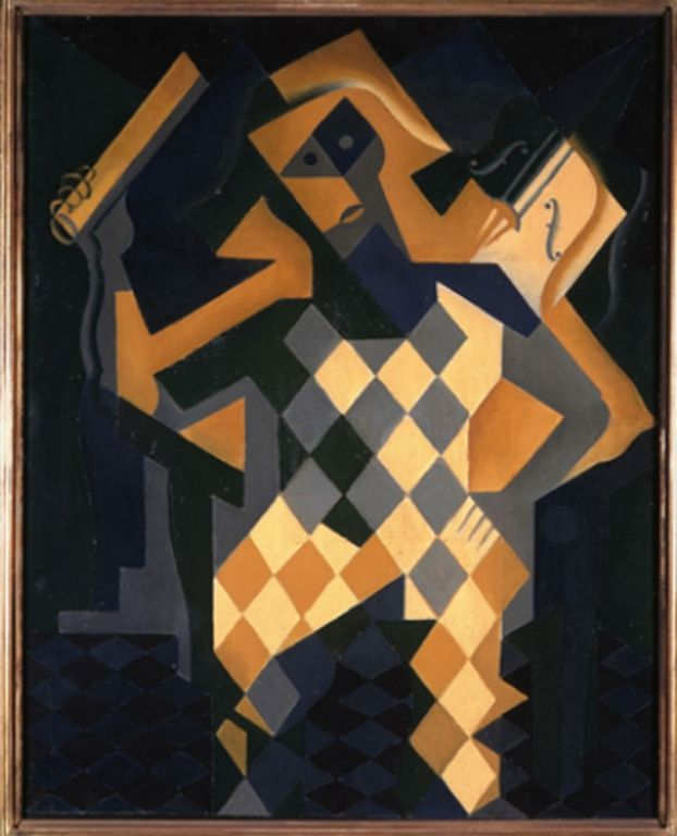 Juan Gris (Madrid 1887-Boulogne-Billancourt 1927) Arlecchino con violino, 1919, olio su tela, cm 91,7 x 73