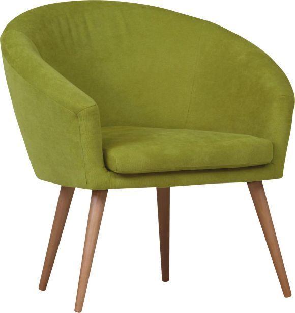 """""""Fåtölj """"Tiptoe"""" från CARRYHOME med tygklädsel i en behaglig grön färg och konformade ben i naturfärgat trä. Sitsen med kärna av polyeterskum ger god sittkomfort."""""""
