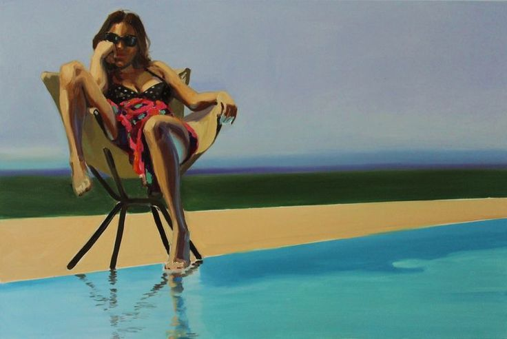The Pool, 80x140cm, oil on canvas. Painting of sitting, dreaming women by the pool,