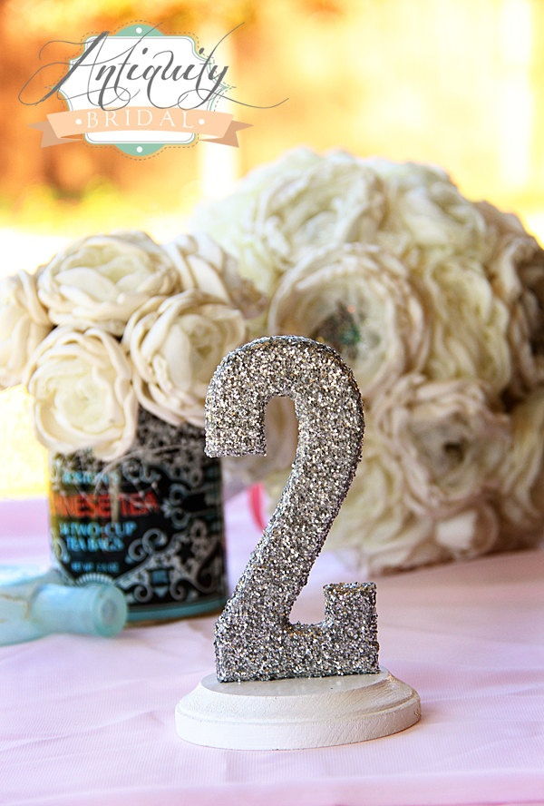 Glittered Table Numbers - Wedding Table Topper - 1-10 - gold silver pink aqua blue. $80.00, via Etsy.