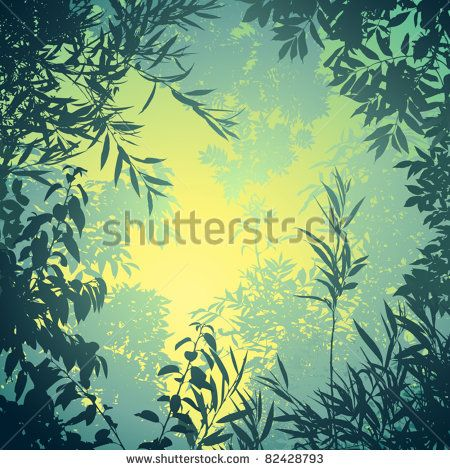 A Floral Background with Trees and Leaves