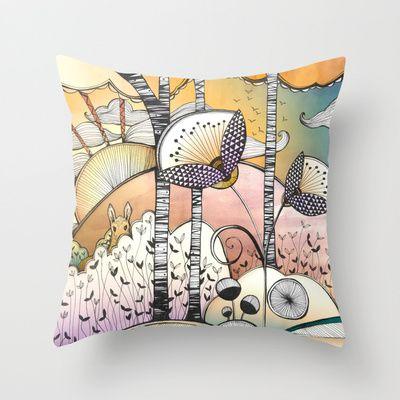 Autumn Woodland Throw Pillow by Jessica Wilde - $20.00