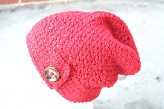 Red Slouch Hat Soft hat by ThatsSewCarol on Etsy