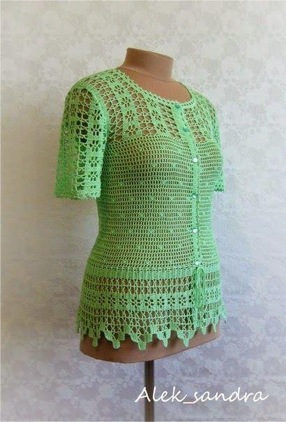 crochelinhasagulhas: Blusa verde em crochê