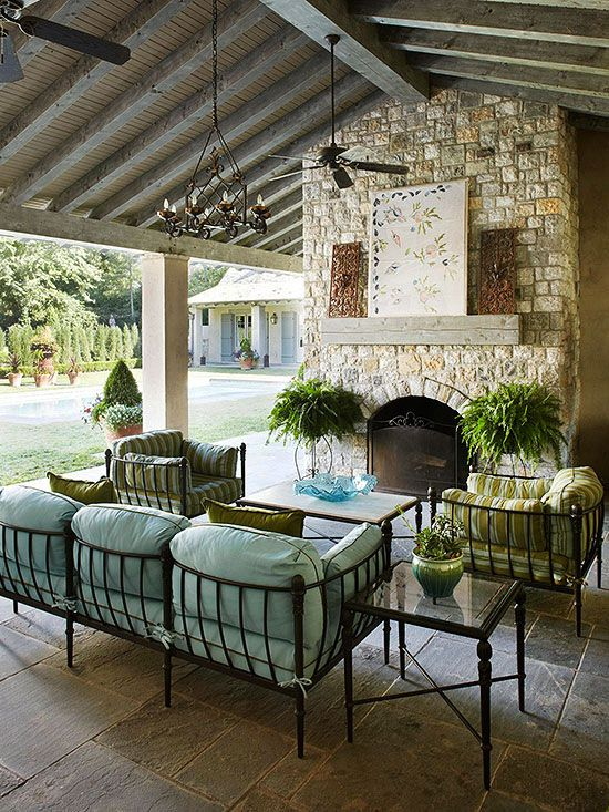 Nice fireplace for a covered/screened-in porch.