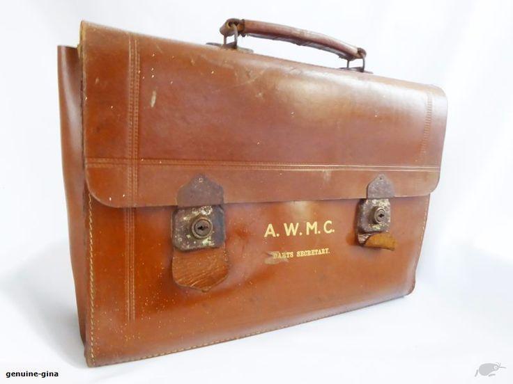 Antique large leather briefcase (A5) : BidBud