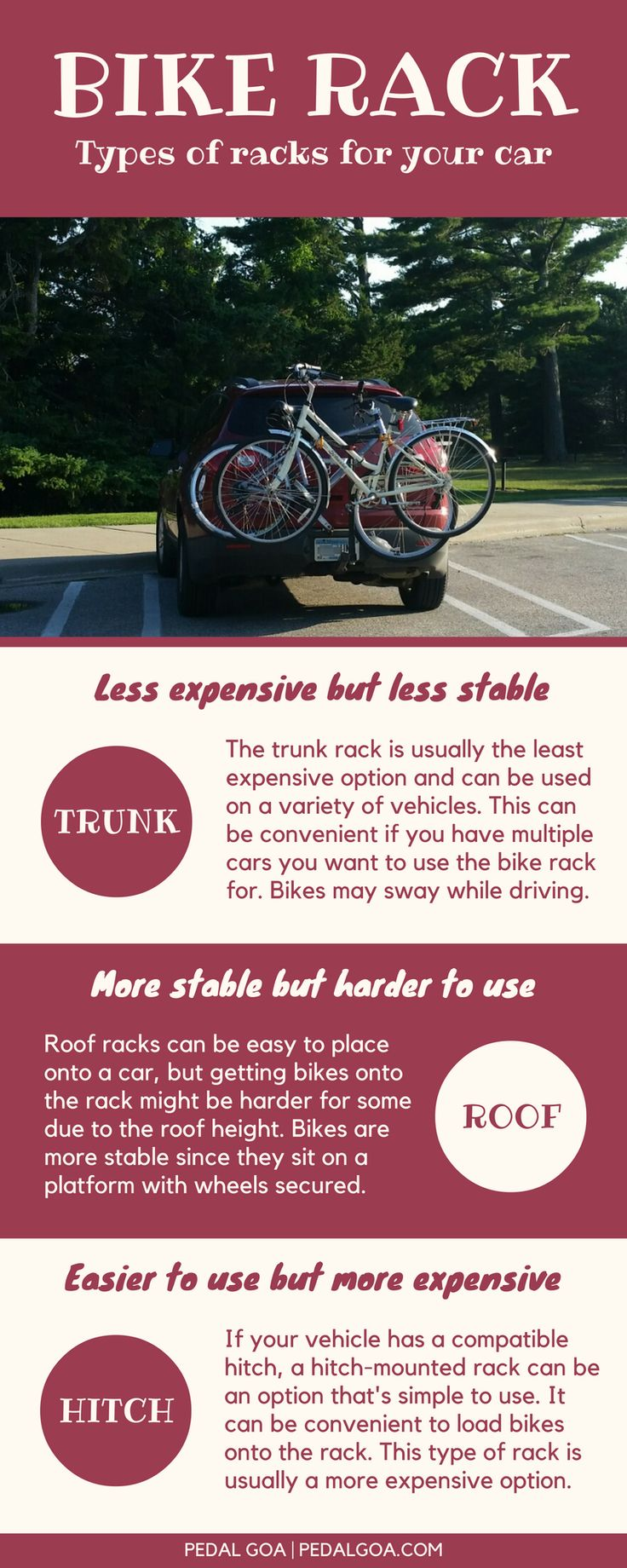 Is the best bike rack for your car a trunk rack, roof rack, or hitch rack? Here are some tips to help you choose the best bike rack for your biking fun and outdoor travel adventures! Infographic