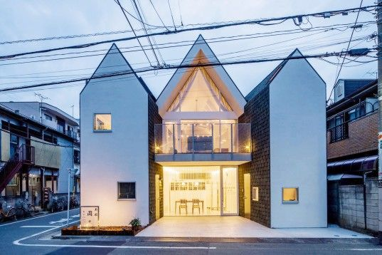 Housecut, Starpilots, Japan, Tokyo, pitched roof, natural light, shingles, wood flooring, transparent facade, daylit spaces, green architecture, Japanese architecture