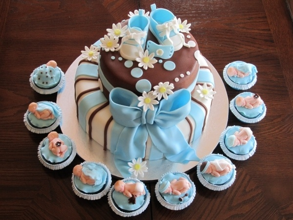 Baby Shower Cupcake Cakes Boy : Boy Baby Shower Cake and Cupcakes Cakes Pinterest
