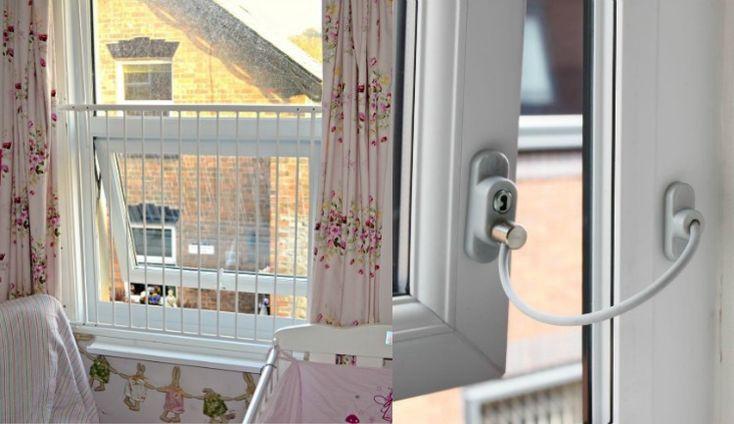 sécurité enfant à la maison, protection pour les fenêtres et rideaux multicolores