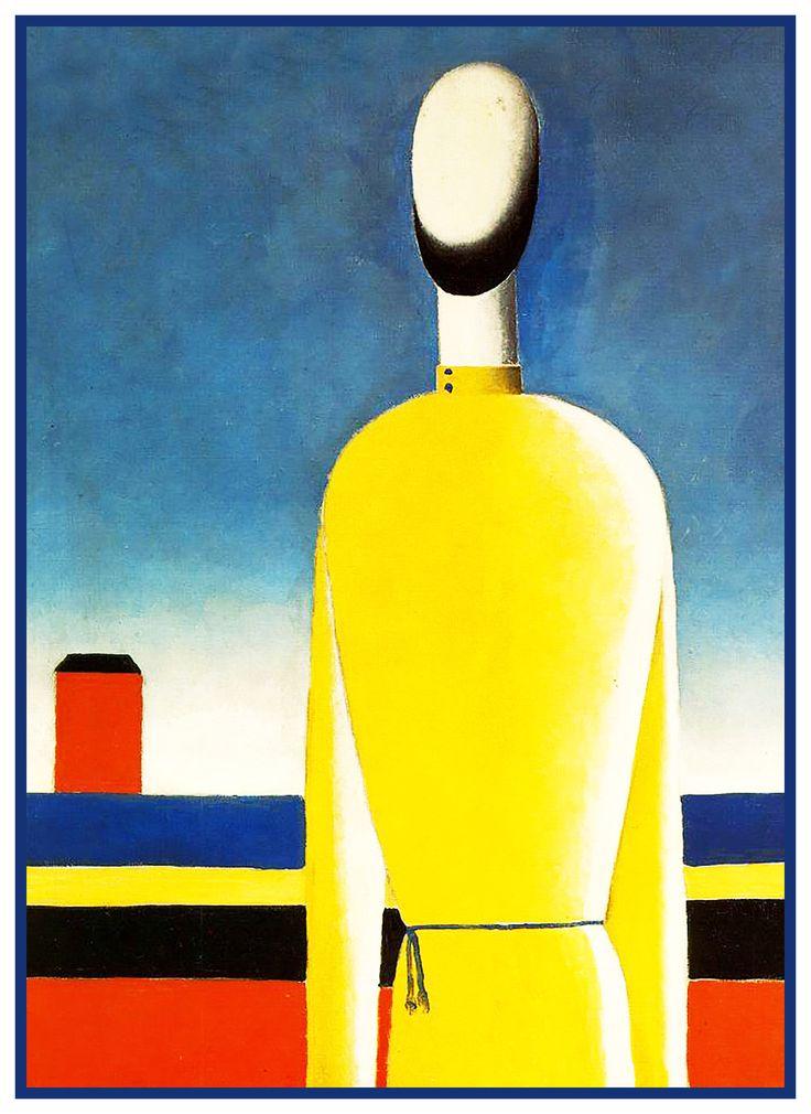 Kazimir Malevich - Man in Yellow Shirt Geometric,