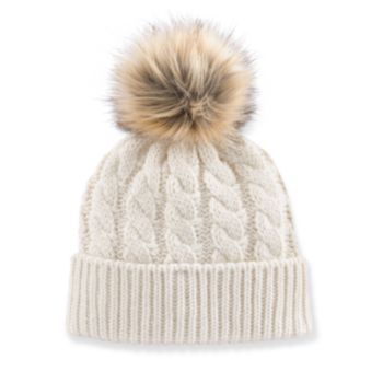 Madden Girl Faux-Fur Pom-Pom Cable-Knit Beanie Hat