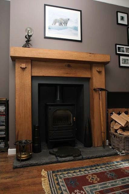 Chunky top oak fire surround  bespoke made to measure for one of our very happy customers visit our website www.ajrusticoak.co.uk