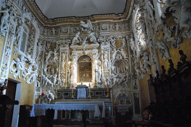 Palace Chapel - Castelbuono -Sicily -The Chapel was built in 1683 by the brothers Giuseppe andGiacomo Serpotta, with a great profusion of precious marble, stuccowork, putti, and friezes