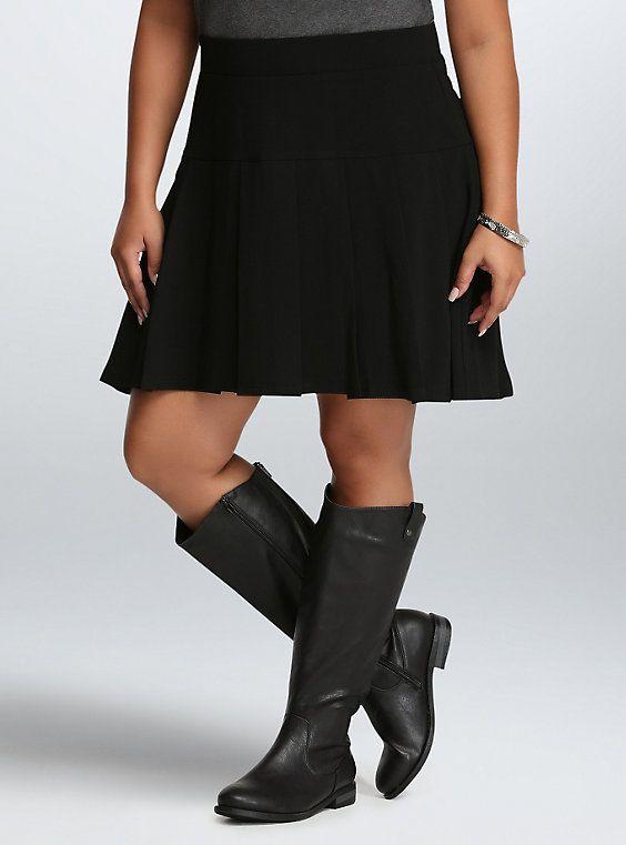 Plus Size Pleated Crepe Skirt, DEEP BLACK