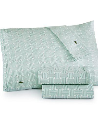 Lacoste Printed Cotton Percale Twin XL Sheet Set - Twin Xl Sheet Sets - SLP - Macy's