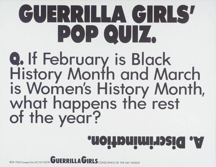 Guerrilla Girls, 'Guerrilla Girls' Pop Quiz' 1990