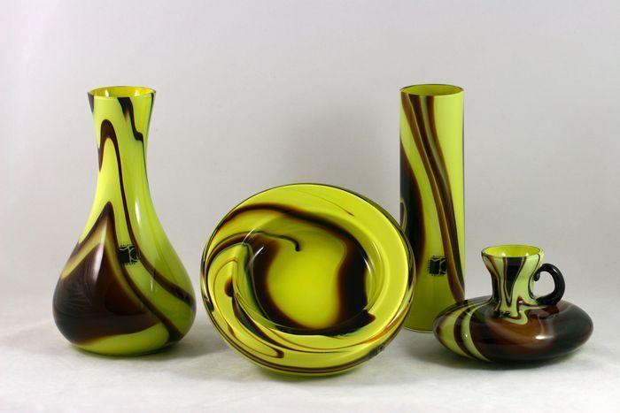 Catawiki, pagina di aste on line  Carlo Moretti - Retro vazen en schaal - gemarmerd glas