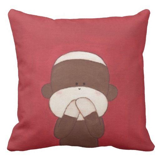 言わざる。。Three Wise Sock Monkeys(Speak No Evil)Throw Pillow #zazzle #pillow