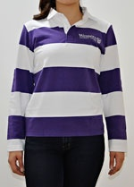 Light weight purple and white striped rugby sweater  Emroidered with Western University Canada and crest